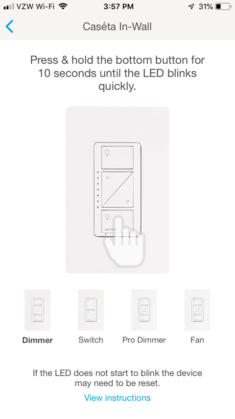Caseta In-Wall Pairing Screen