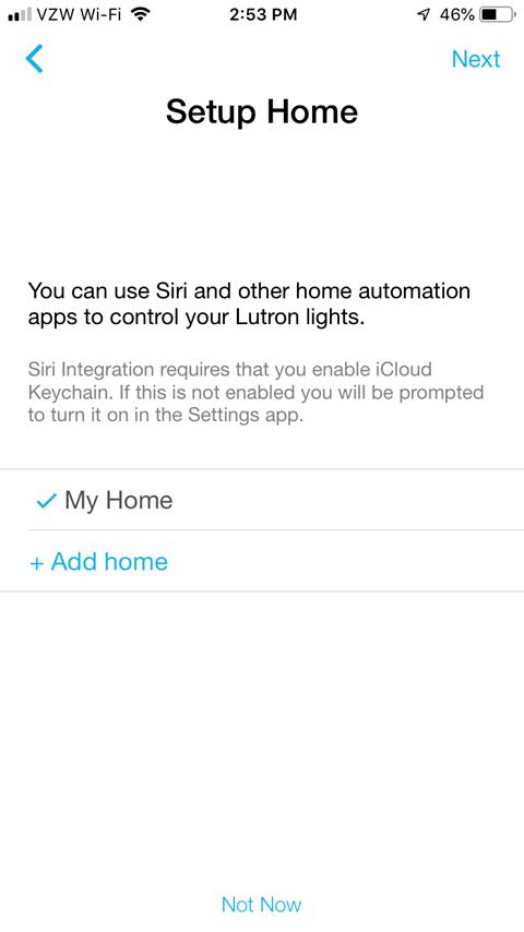 Lutron Caseta App Install on iPhone - Setup Home