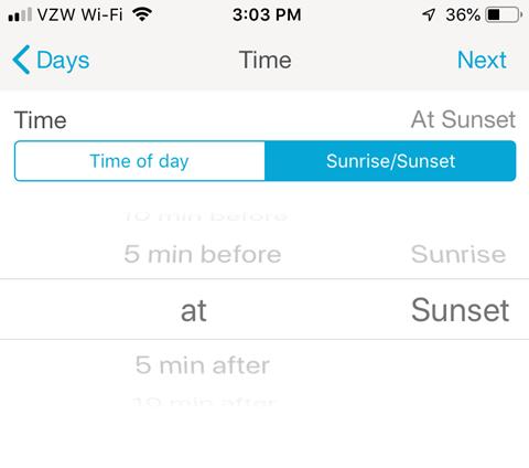 Lutron Caseta Smartphone App - Set Time of day or Sunrise/Sunset