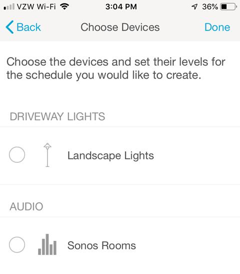 Lutron Caseta Smartphone App - Choose Devices