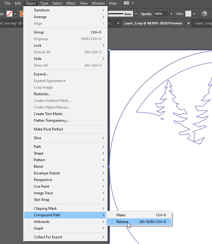 Illustrator Release Compound Path Menu Option
