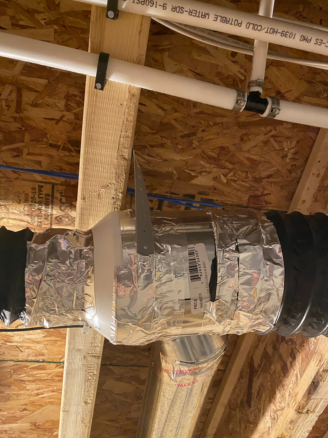 4-inch flex duct connected to adapter