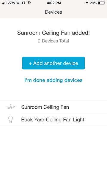 Sunroom Ceiling Fan Device Added Confirmation Screen