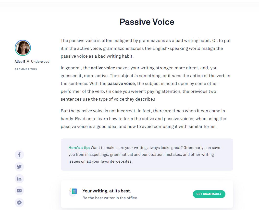 Grammarly Grammar Tips - Passive Voice