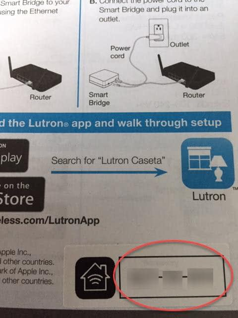 Lutron Caseta App Install on iPhone - Enter Setup Code