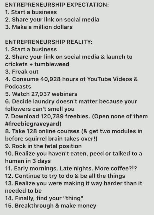 Entrepreneurship Expectation versus Reality