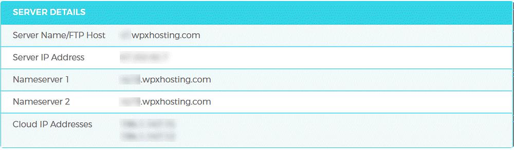 WPX Hosting Management Server Details