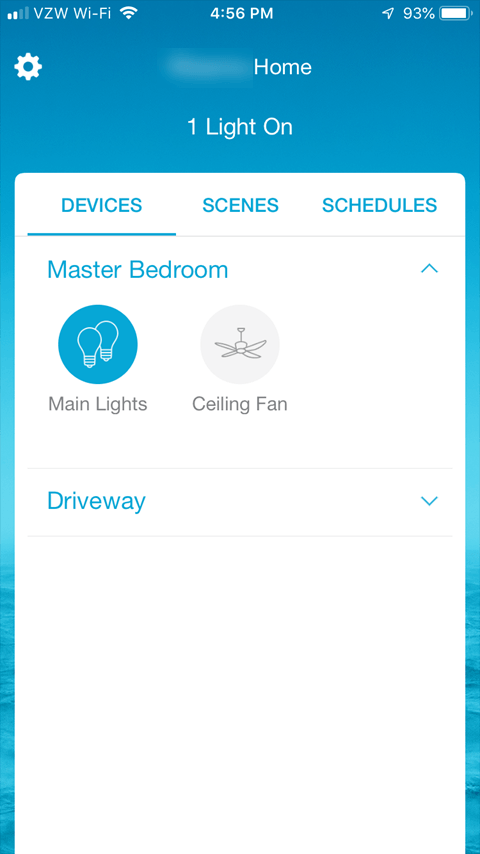 Lutron Caseta App - Main App Screen