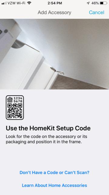 App Install on iPhone - Use the HomeKit Setup Code