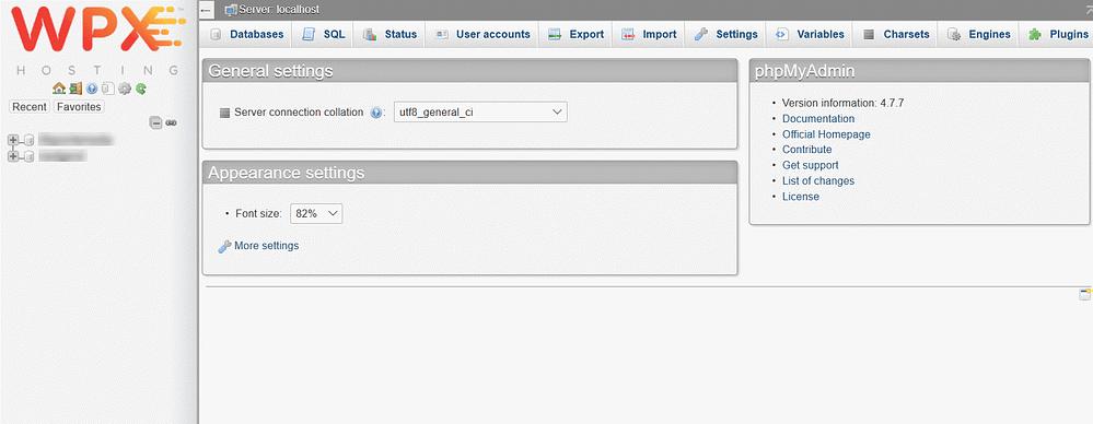 WPX Hosting Management phpMyAdmin