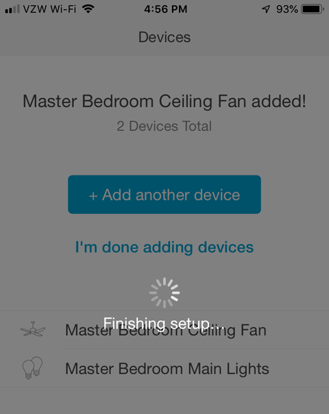 Lutron Caseta App - Finished Setup Processing Screen