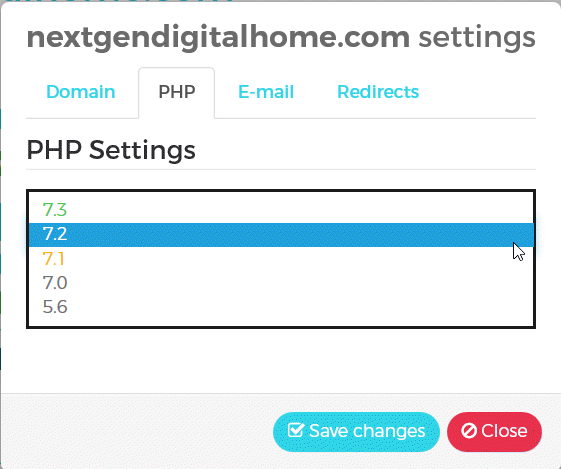 WPX Hosting Management PHP Settings