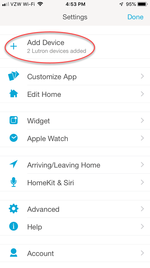 Lutron Caseta App - Settings Screen